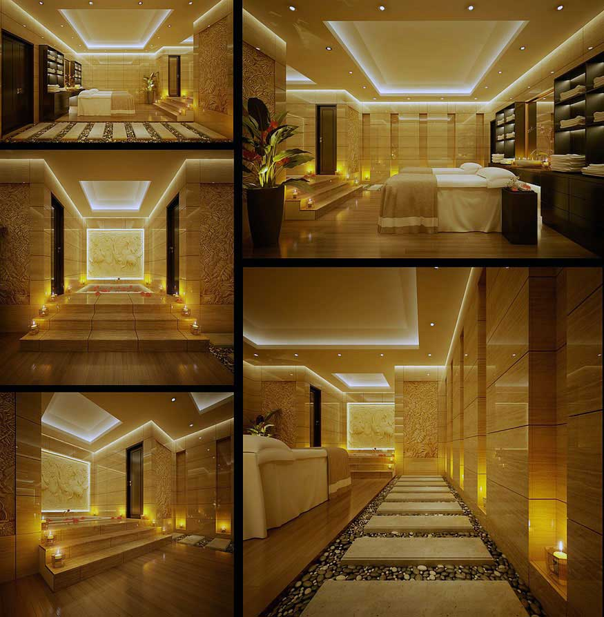 Beautiful ceiling lighting spa indoor zen garden for Beautiful home lighting