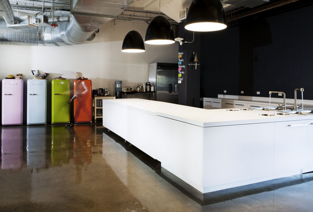 Beautiful Office Kitchen with Colorful Refrigerator