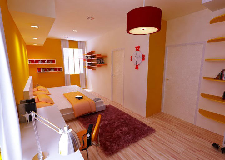 Beautiful Orange Warm Room Design