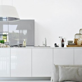 Beautiful White Kitchen with Small Sofa