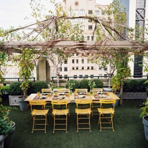 Beautiful Yellow Chairs Roof Garden Outdoor Pergola