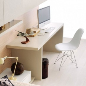 Beech Desk for Mac with White Chairs
