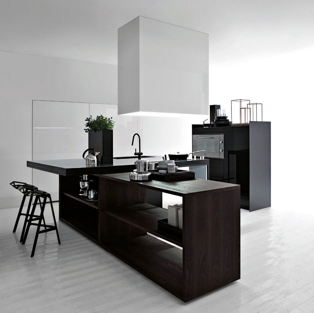 Best black and white modern kitchen 2012 interior design for White and black kitchen designs