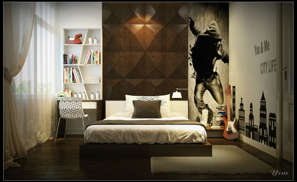 Boys Bedroom With Black Wall Art Decor Ideas Interior
