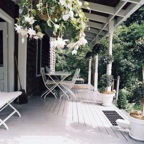 Calm White Porch with Wooden Floor Design