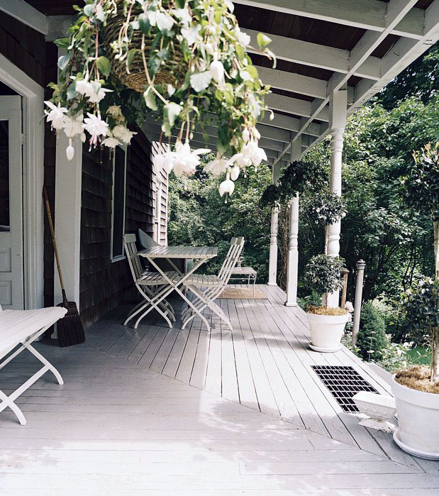 Calm White Porch with Wooden Floor Design