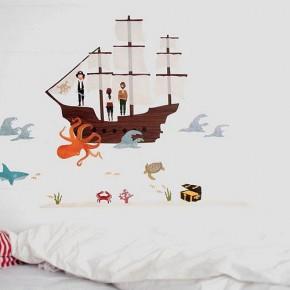 Cartoon Pirate Sea Wall Stickers on White Wall