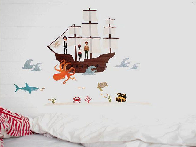 Cartoon Pirate Sea Wall Stickers on White Wall