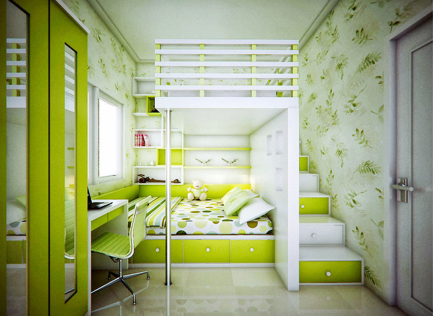 catchy kids bedroom with lime green color ideas interior