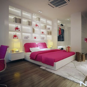 Catchy Pink White Bedroom for Teen