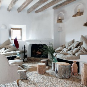 Cave Home Rustic Lounge with Fireplace