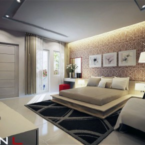 Chic Cream Modern Bedroom with Hanging Wall Art Decor