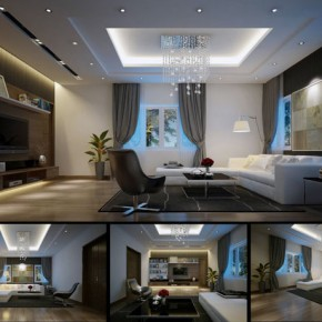 Chic Luxury Apartment Living Room with LCD TV