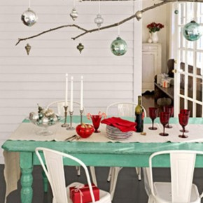 Classic Green Dinning Table For Christmas with Ball Ornament