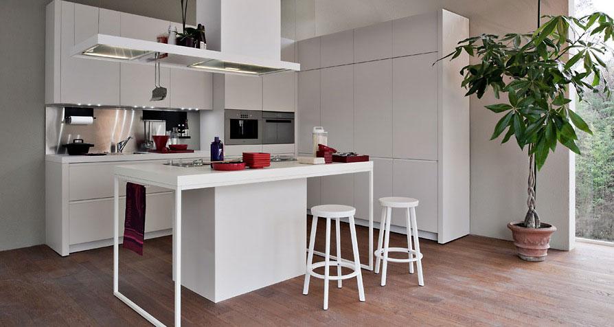 Clean White Smaller Kitchen with Wooden Floor Ideas