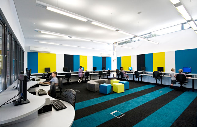 Modern Classroom Facilities ~ Colorful elementary computer lab interior design ideas