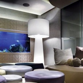 Cool Residence Living Room with Large Aquarium
