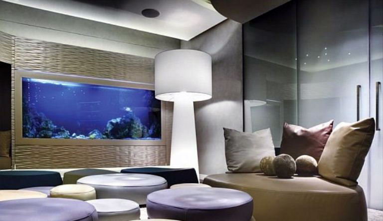 Cool Residence Living Room with Large Aquarium - Interior Design Ideas