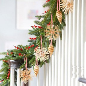 Cool Stair Decor with Pine for Christmas