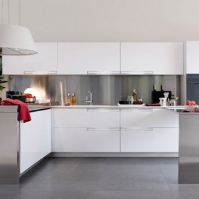 Cool White and Polished Silver Kitchen Design