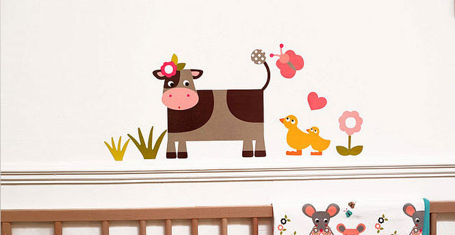 Funy Cow Farmyard Wall Stickers for Baby Room