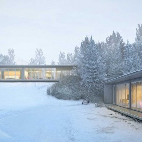 Glass Sliding Wall Sided House in Snow