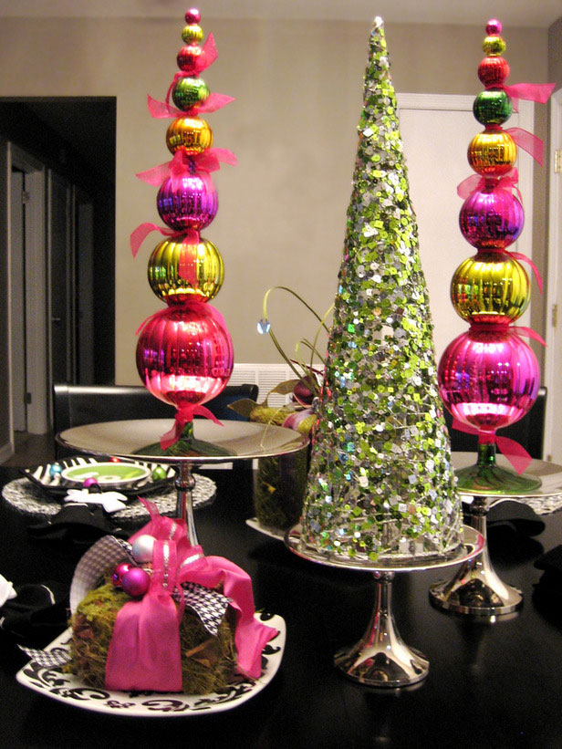 Gleaming pink and Green Chrismast Decoration