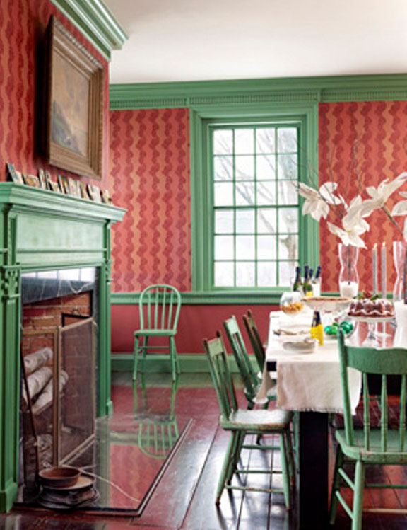 Green and Red Dinning Room with Fireplace