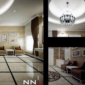 Hallway Reception Design with Modern Chandelier Decor