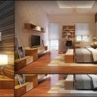Inspiring Warm Bedroom with Wooden Floor and