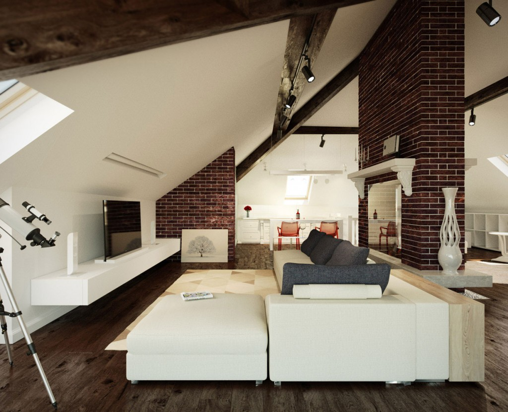 Loft Wall Design Ideas : Living room in loft with brick walls design interior