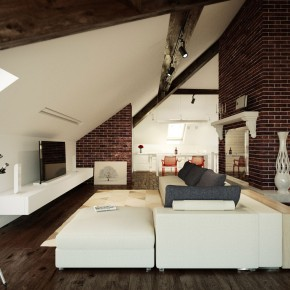 Living Room in Loft with Brick Walls Design