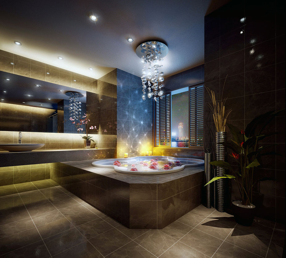 Luxurious Private Bathroom with Beautiful Chandelier