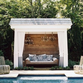 Luxury Poolside Cabana with Chandelier