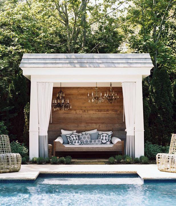 Luxury Poolside Cabana with Chandelier