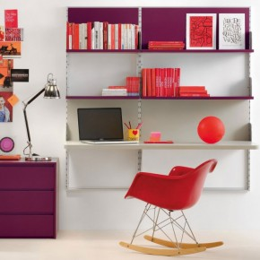 Magenta Color Shelf and Desk For Kids