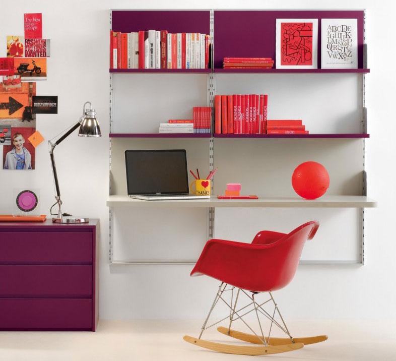 Magenta Color Shelf and Desk For Kids