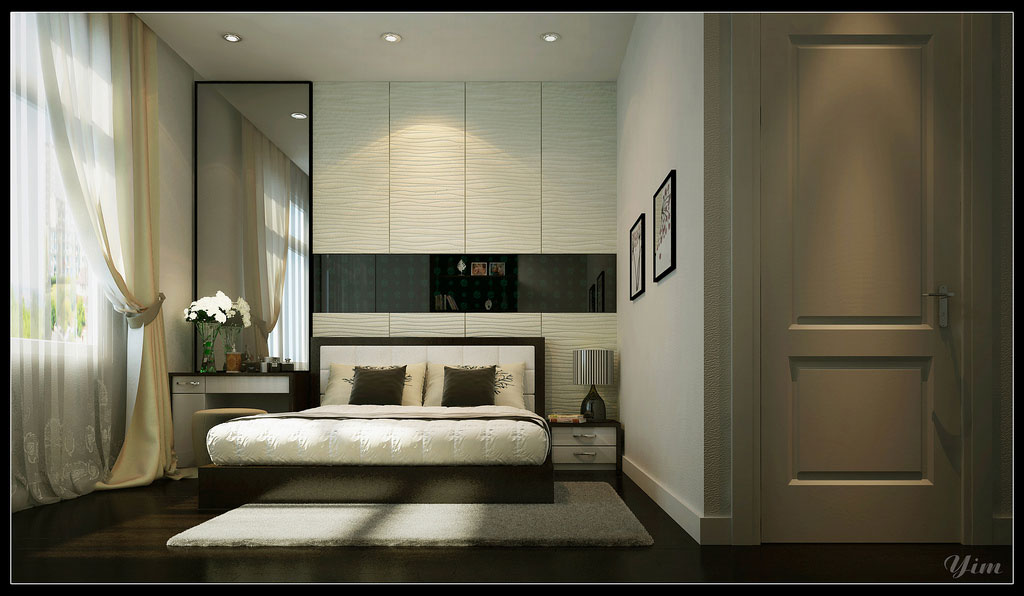 Master bedroom with ambiental lighting and large curtain for Big bedroom interior design