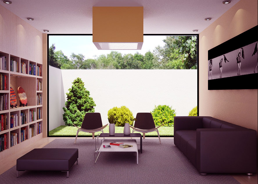 Minimalist Living Room with Garden Lawn View