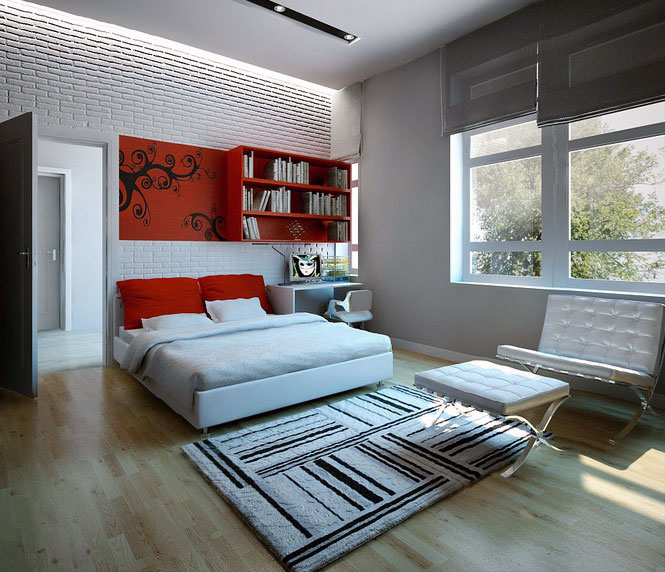 Minimalist Colorful Rug Designs: Minimalist Red White Bedroom With Striped Rugs Decor