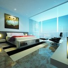 Modern Bedroom With a Glass Panel Window Ideas