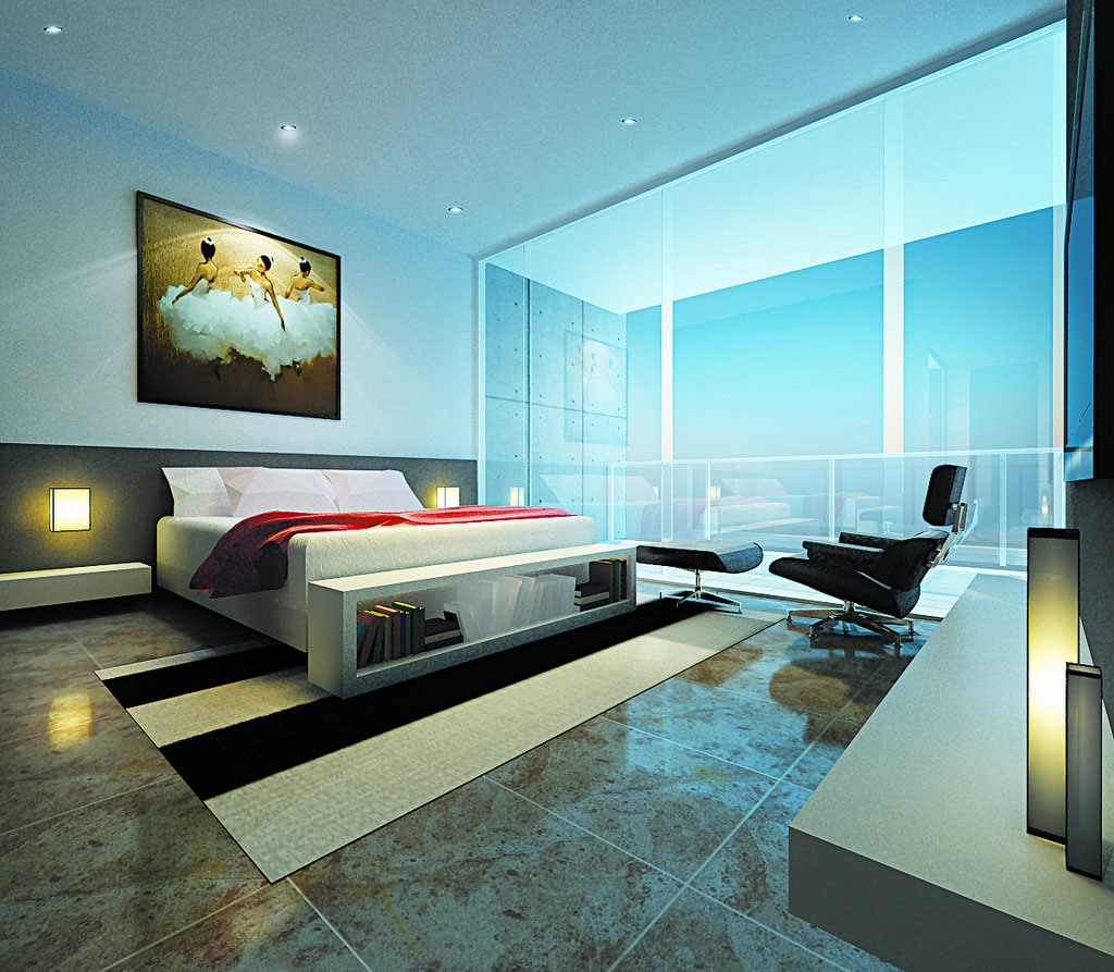 Modern bedroom with a glass panel window ideas interior - Designs of room ...
