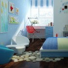 Modern Blue Sky Kids Bedroom with White Couch
