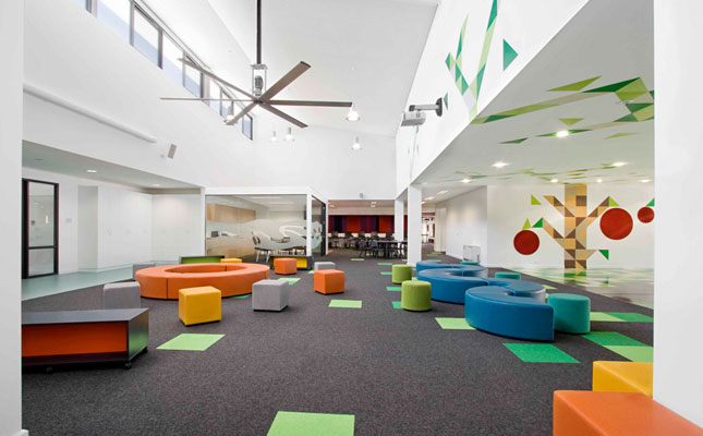 Modern elementary school with creative design interior for The interior design institute