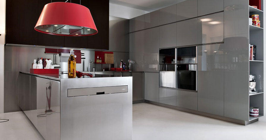 Modern Grey with Red Pops Lamp and Plastic Furniture