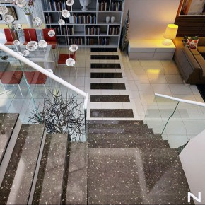 Modern House with Glass Marble Staircase Interor