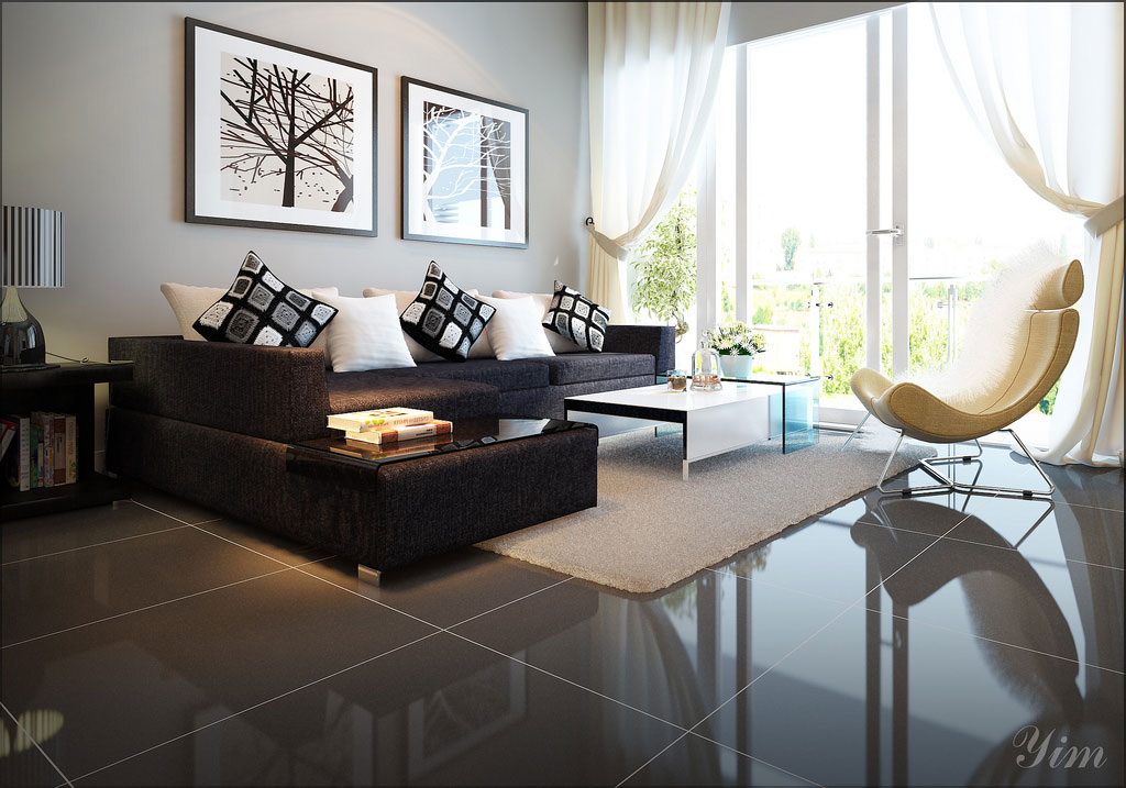 Modern Living Room with a Dark Couch and White Rugs Design