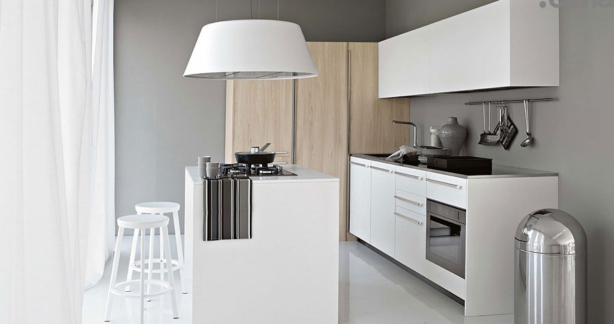 Modern Smaller White Kitchen with Light Wood Elements