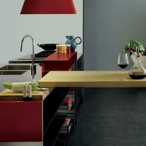 Modern Stainless Kitchen Funiture with Wood Counter Tops