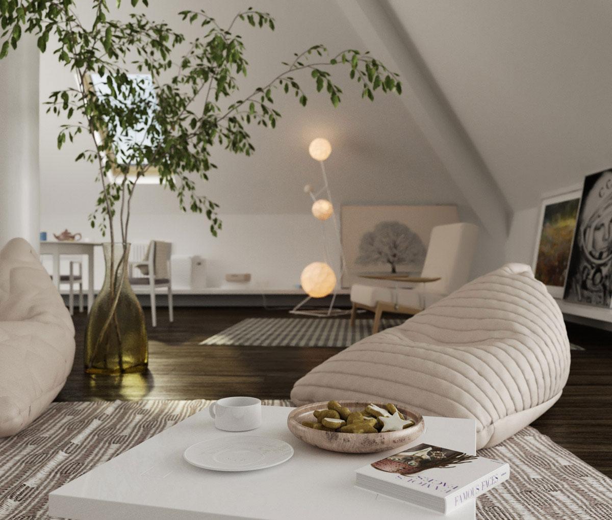Beautiful sloped ceiling design interior design design for Decorating sloped ceilings